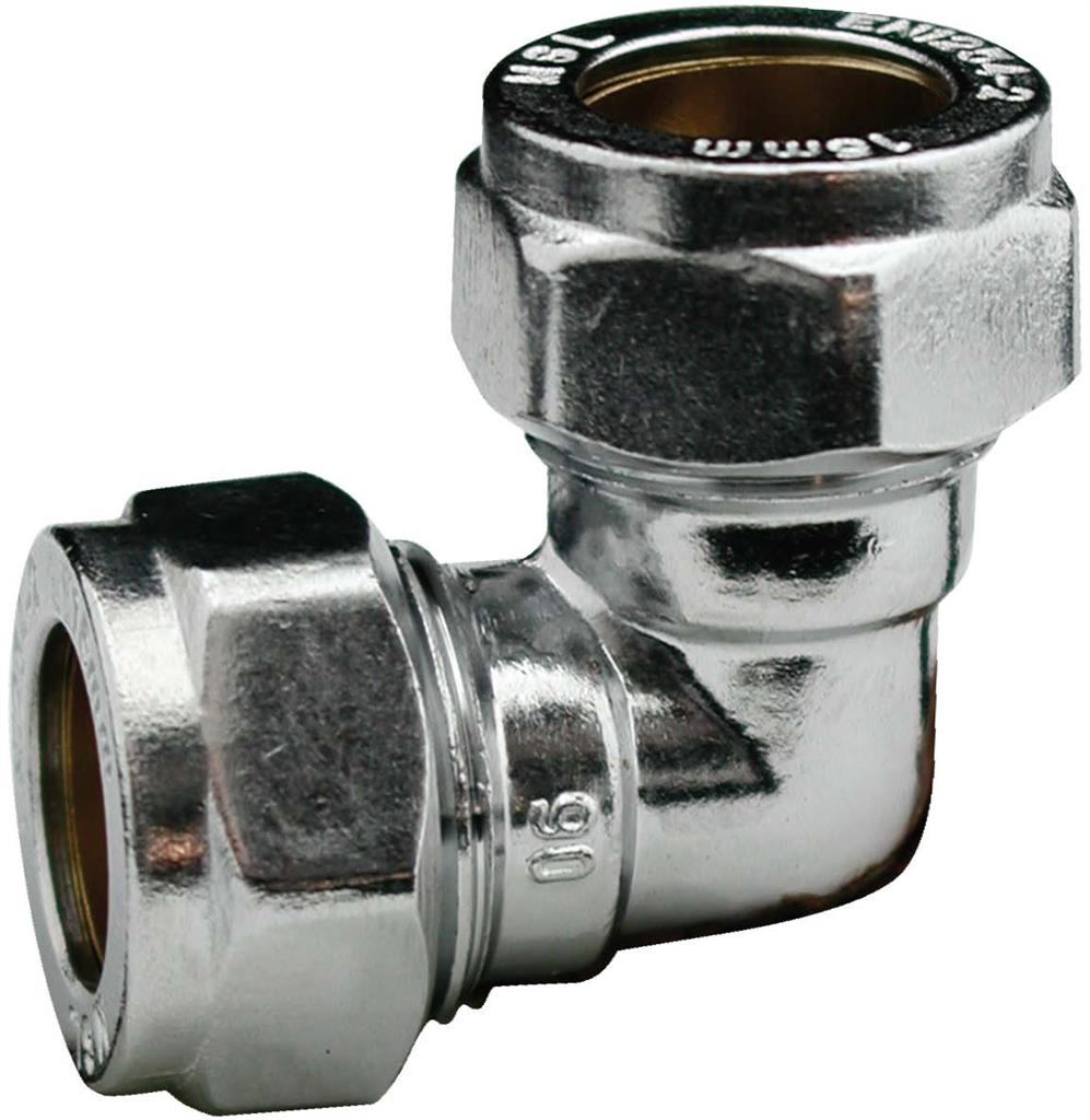 CHROME COMPRESSION 22mm ELBOWS