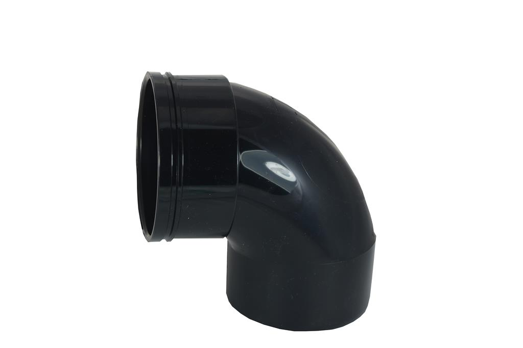 SOIL SOLVENT WELD 110MM SINGLE SOCKET 90 DEGREE BEND BLACK