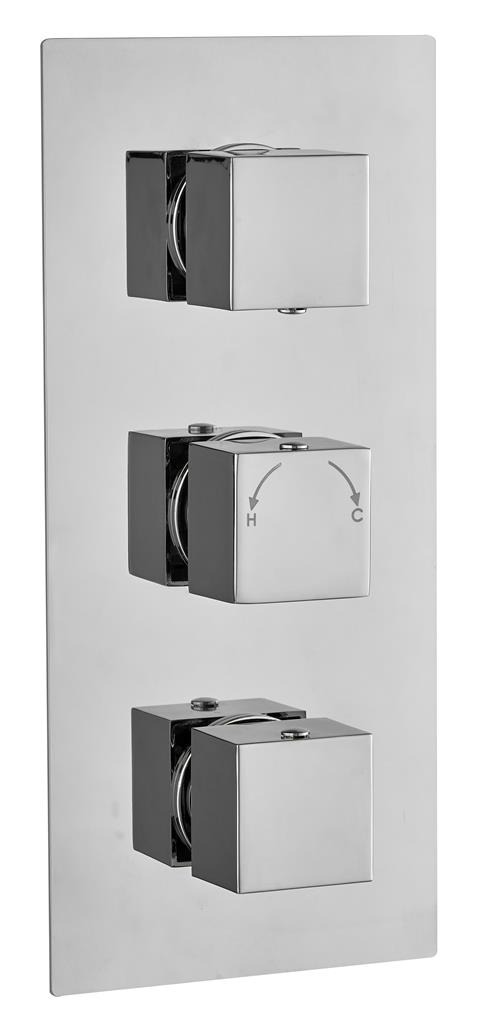 CONCEALED SHOWER THERMOSTATIC VALVE 3 WAY DIVERTER SQUARE