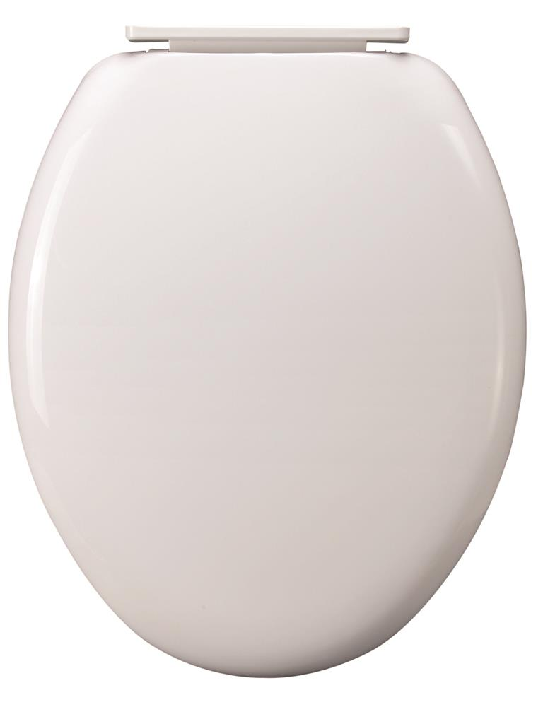 WHITE PLASTIC TOILET SEAT WITH PLASTIC HINGE