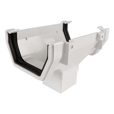 SQUARE LINE GUTTERING RUNNING OUTLET WHITE