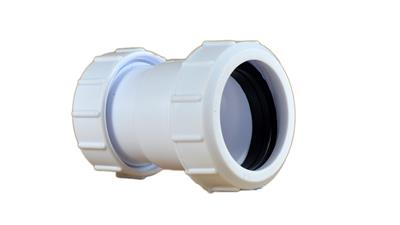 PLASTIC COMPRESSION 40mm STRAIGHT COUPLER WHITE
