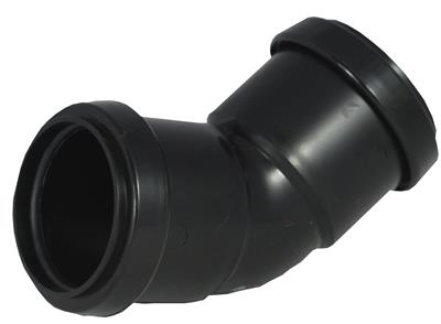 WASTE PUSH FIT 40mm 45 DEGREE BEND BLACK