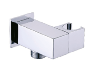 Shower Wall Bracket & Outlet Square Angled Chrome