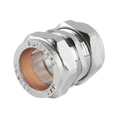 SATIN CHROME COMPRESSION 22mm STRAIGHT COUPLINGS